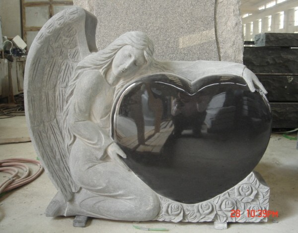 Black Granite Angel Tombstone